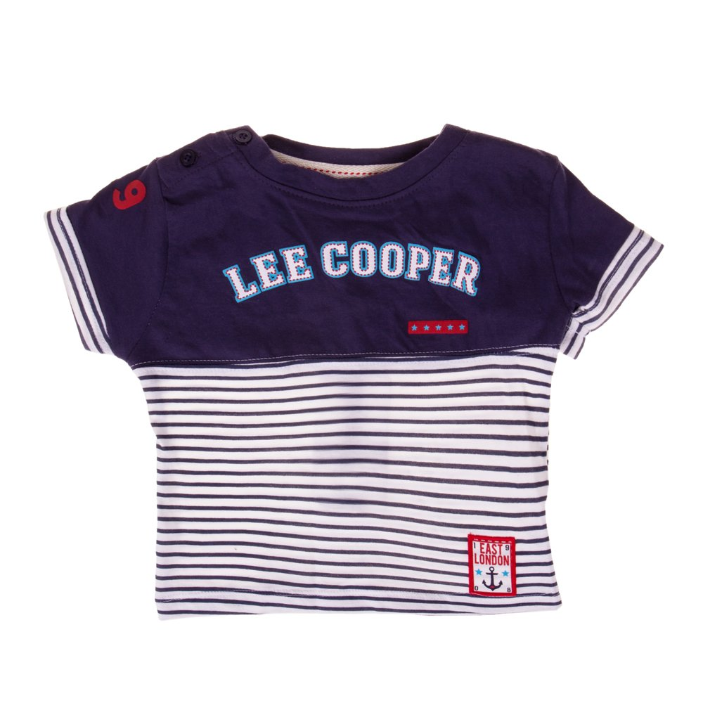 Lee Cooper - Tricou maneca scurta bebe East London navy cu dungi albe