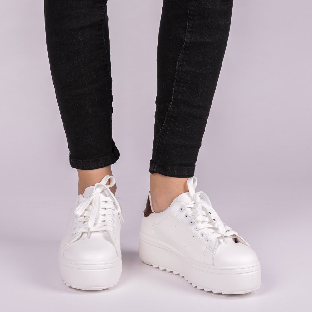 Pantofi sport dama Avery albi cu insertii maro