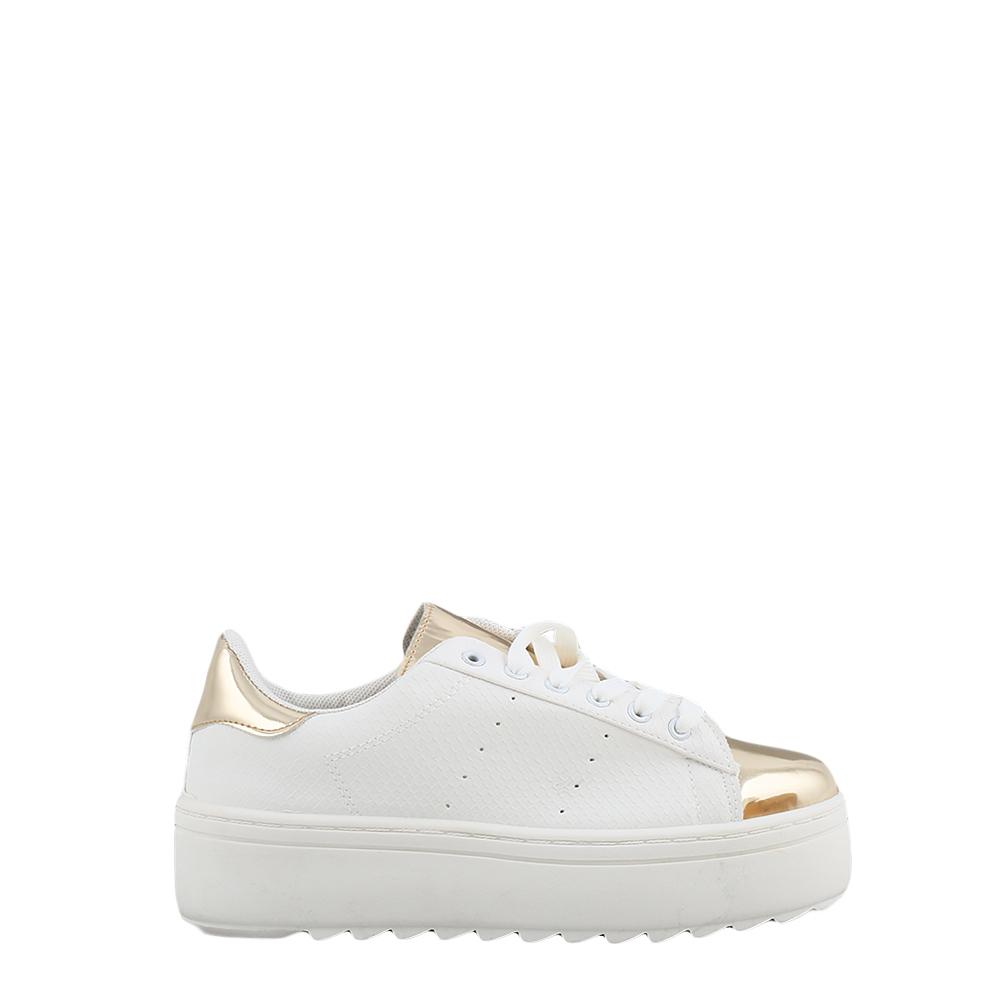 Pantofi sport dama Neville albi cu insertii aurii