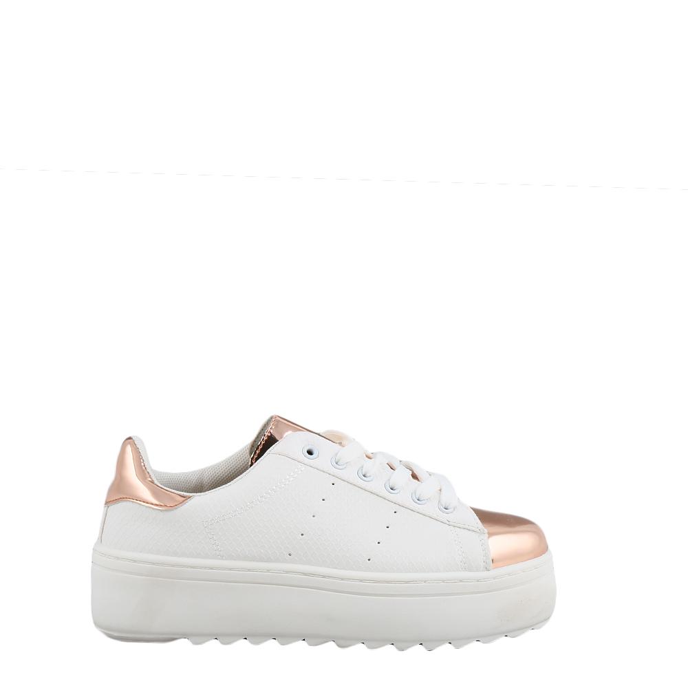Pantofi sport dama Neville albi cu insertii bronze