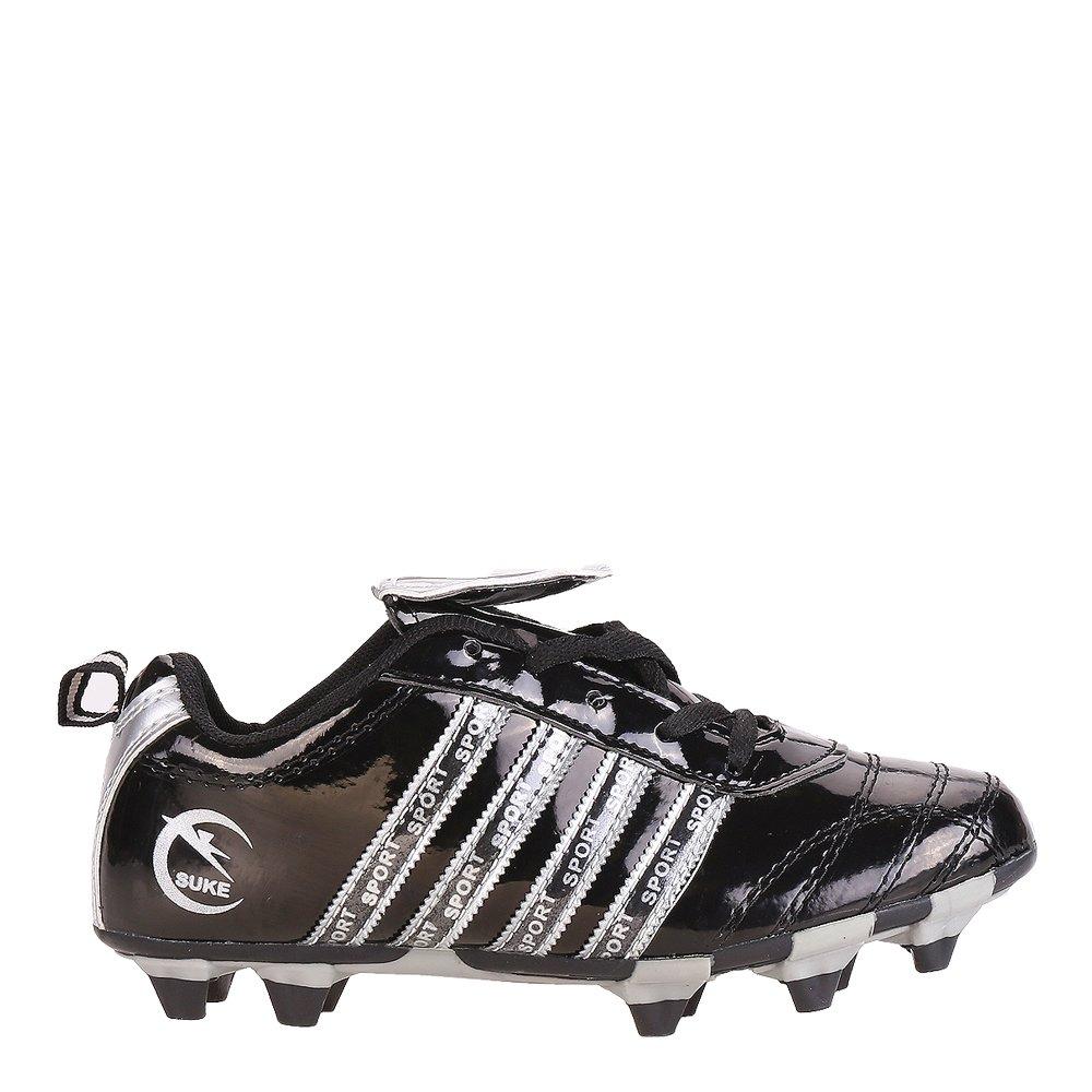 Ghete fotbal copii Rheet negre cu argintiu si gri