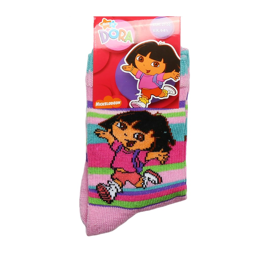 Sosete copii Dora fucsia cu dungi colorate