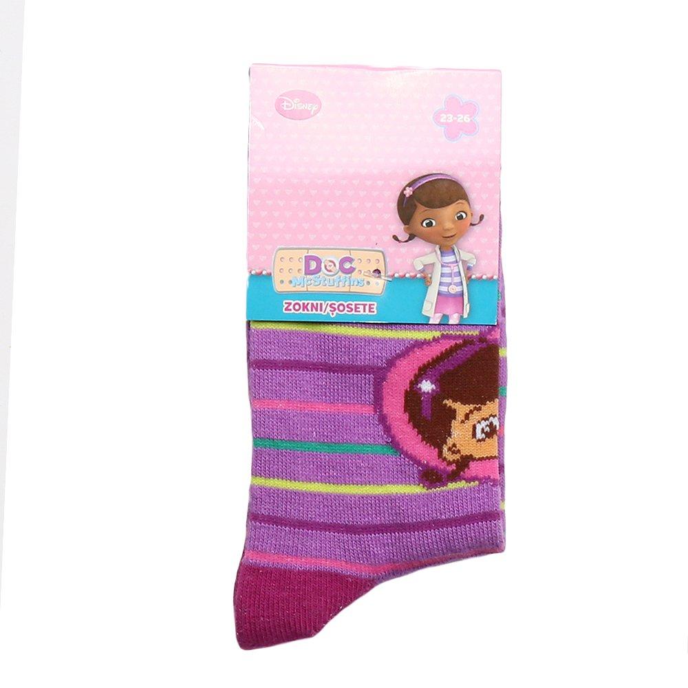 Sosete copii Plusica mov cu dungi colorate