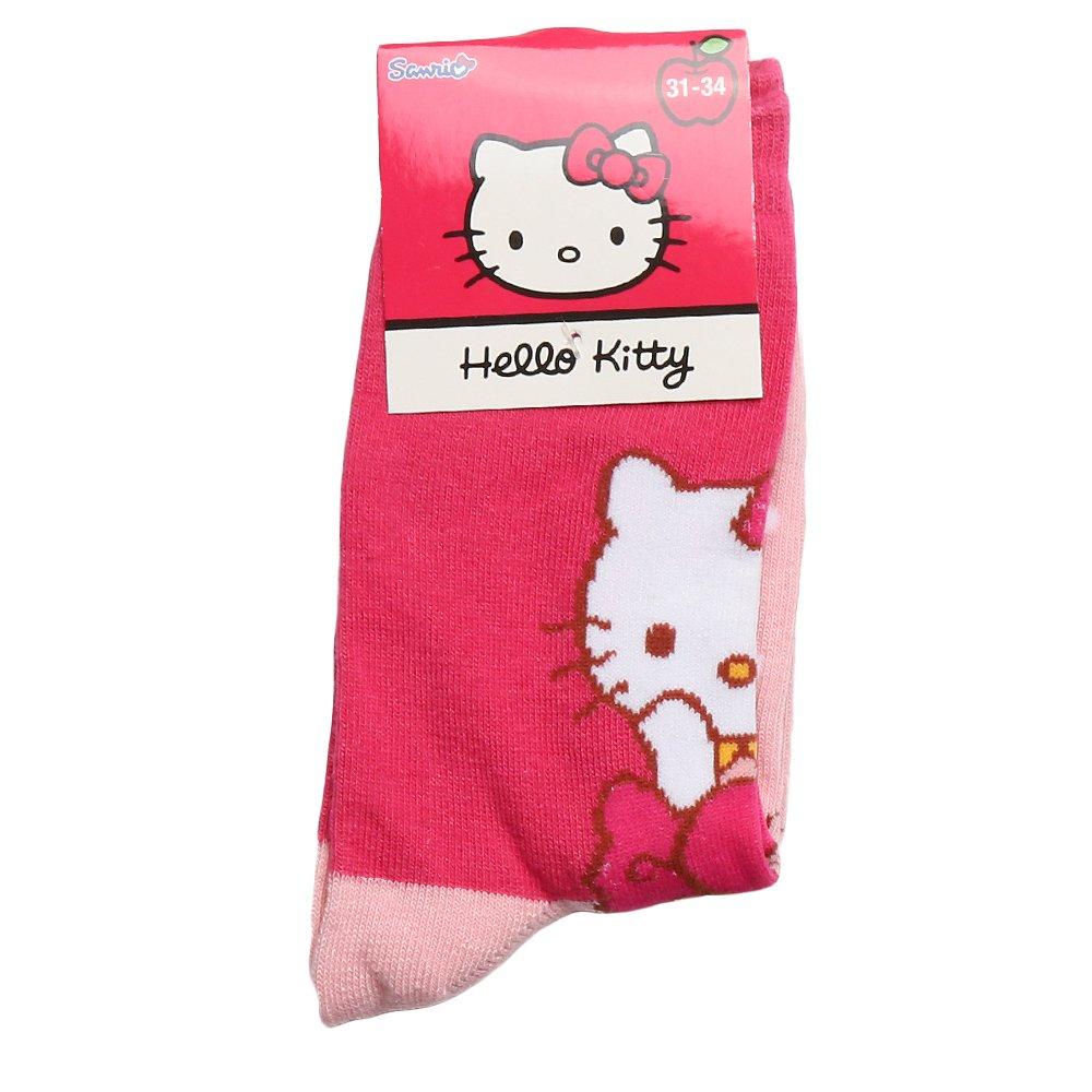 Sosete copii Hello Kitty fucsia cu roz