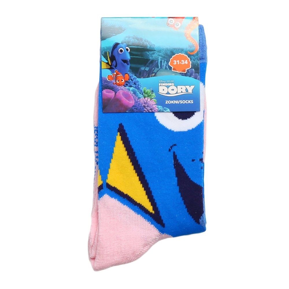 Sosete copii Finding Dory albastre cu roz deschis