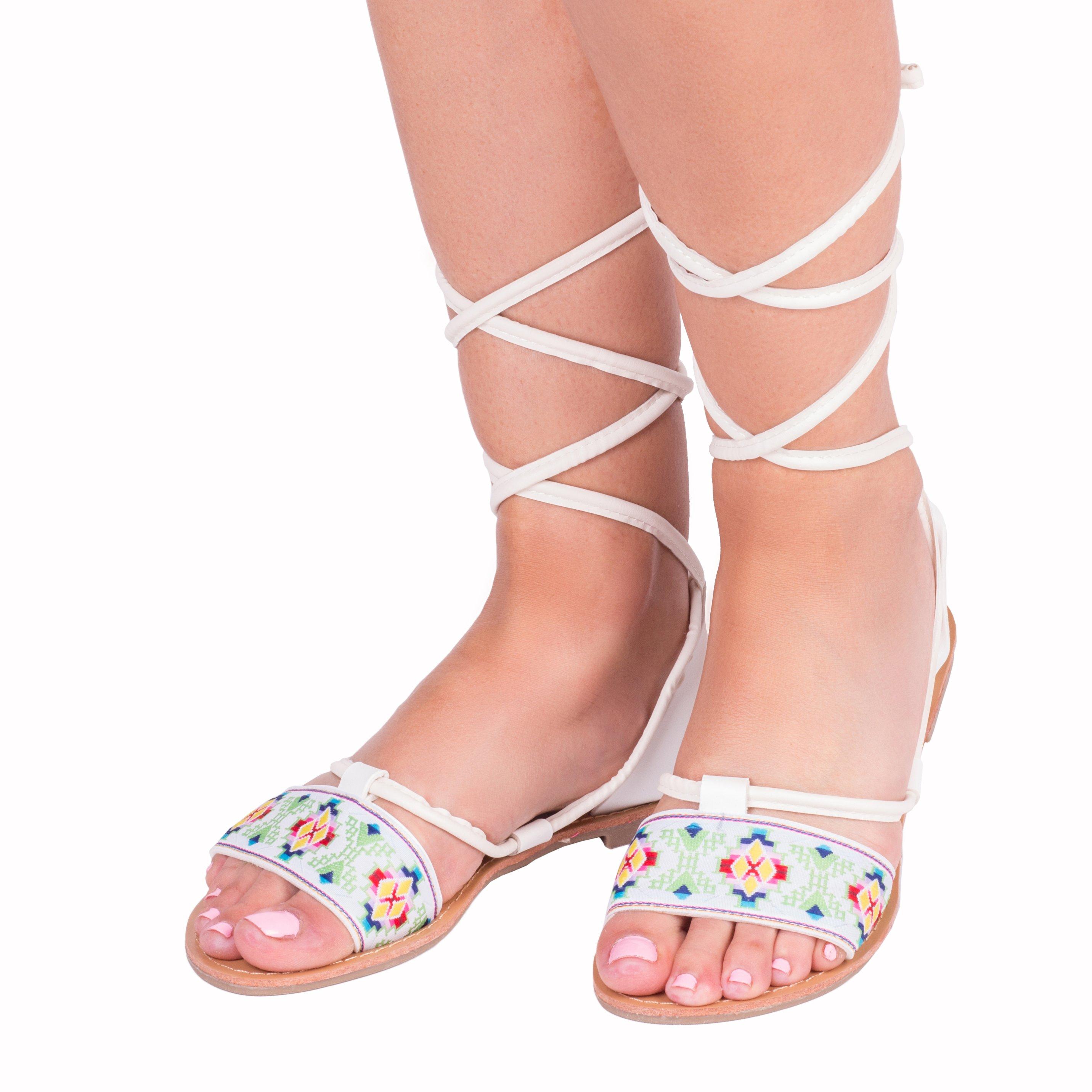 Sandale dama Madelyn albe