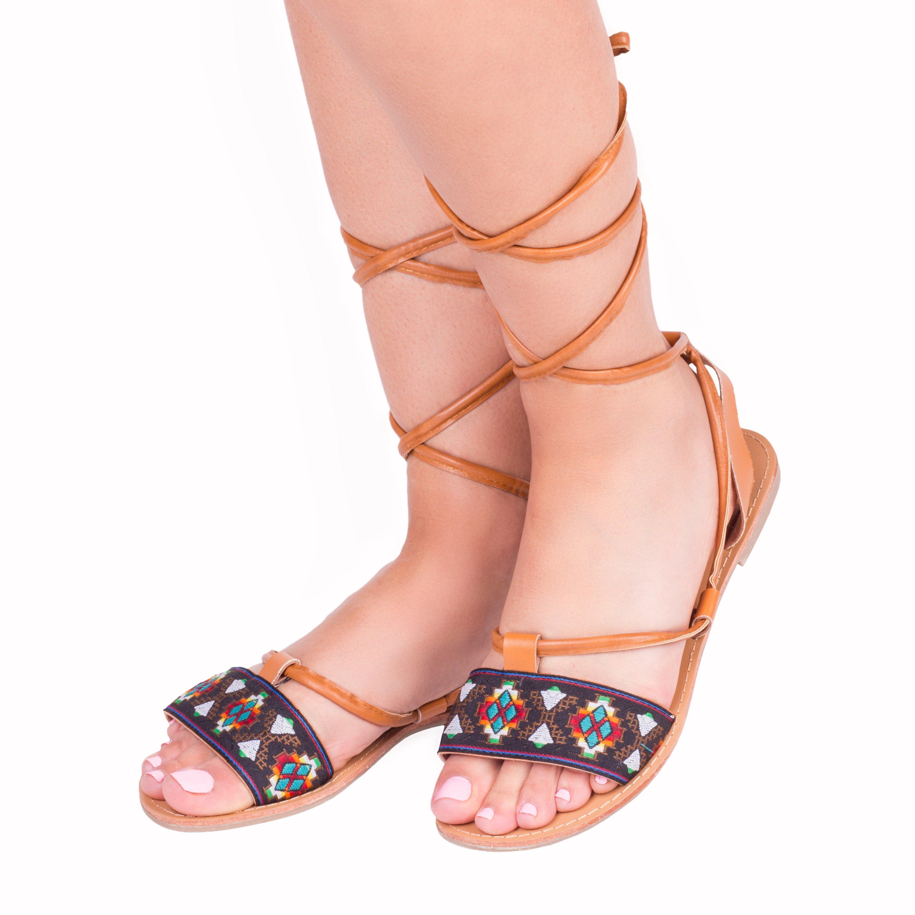 Sandale dama Madelyn camel cu negru