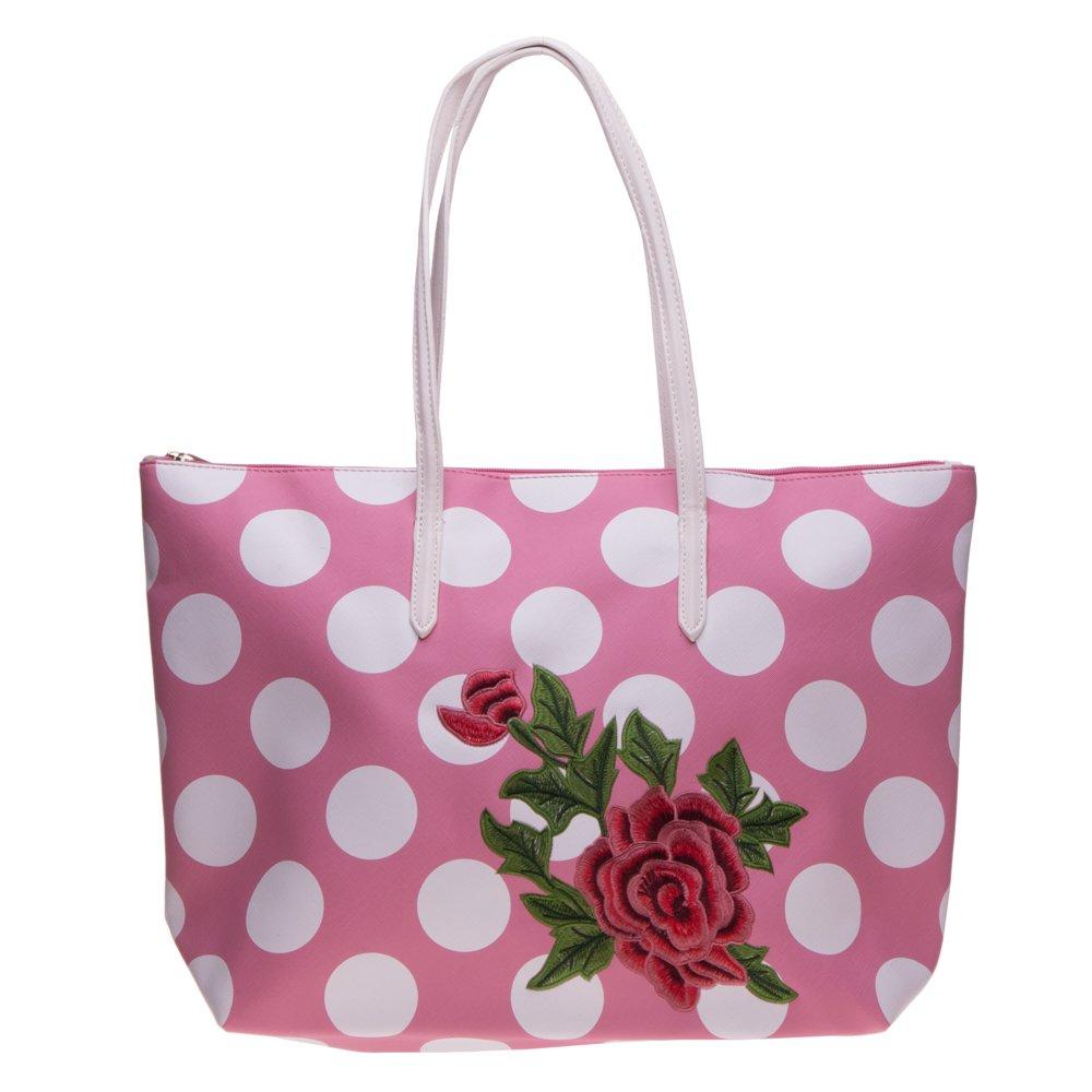 Geanta shopper 3055 roz cu buline albe