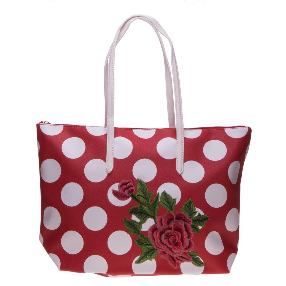 Geanta shopper 3055 rosie cu buline albe