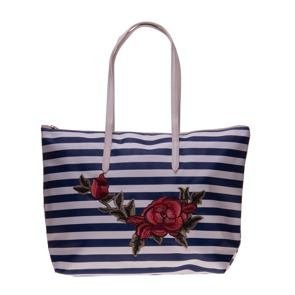 Geanta shopper 3055 albastra cu dungi albe