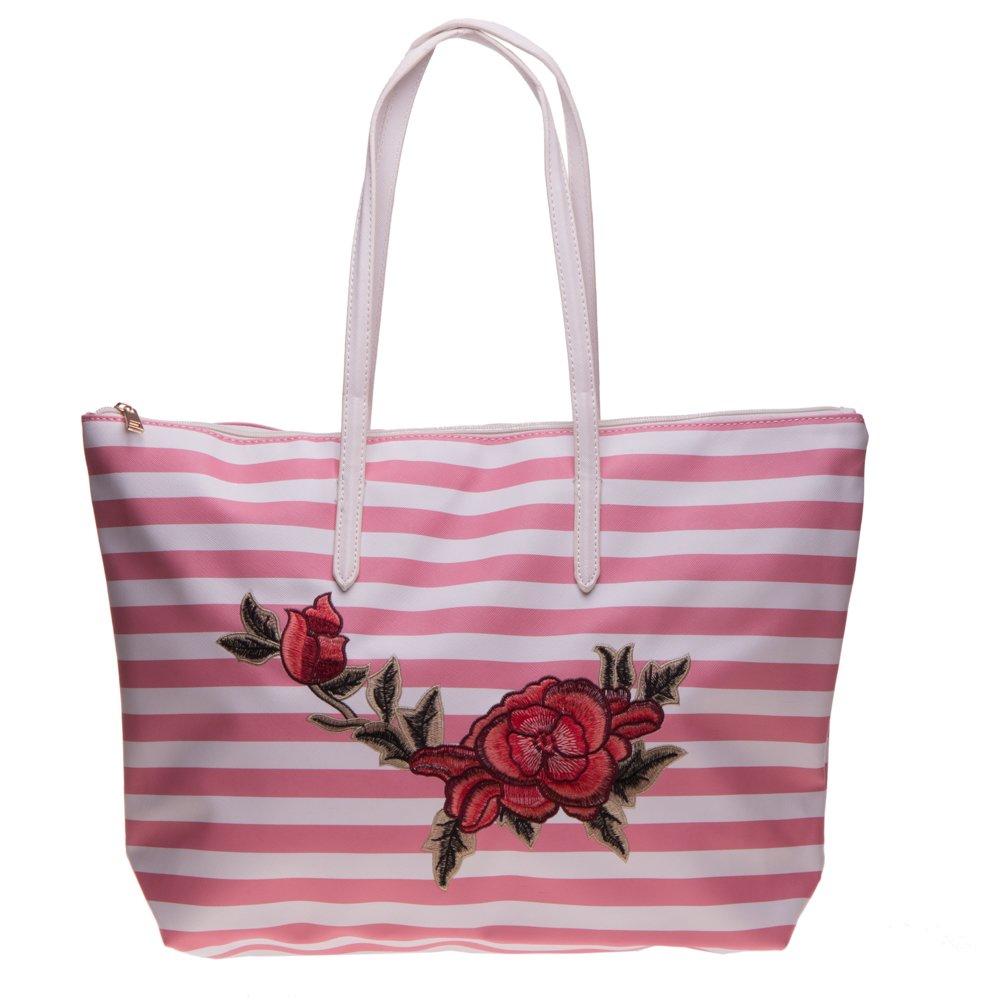 Geanta shopper 3055 roz cu dungi albe