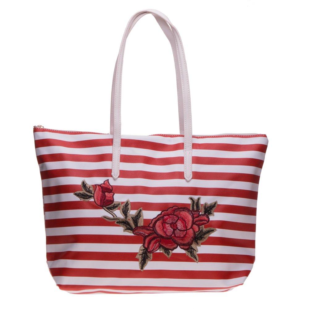 Geanta shopper 3055 rosie cu dungi albe