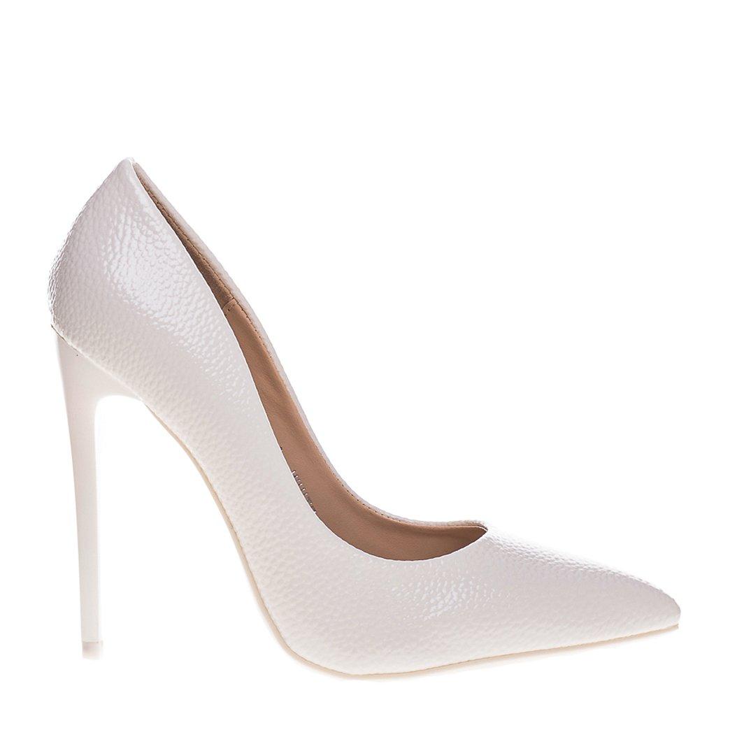 Pantofi stiletto Genevive albi