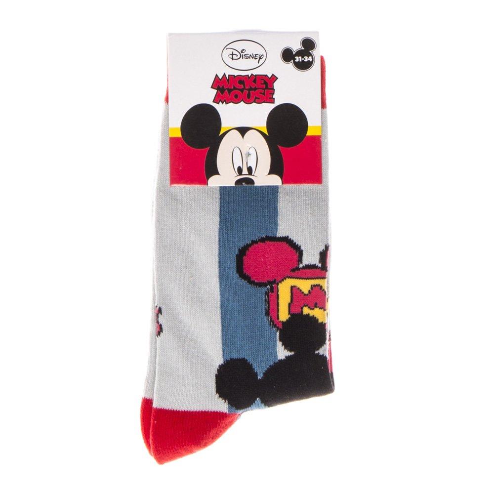 Sosete copii Mickey Mouse gri cu rosu