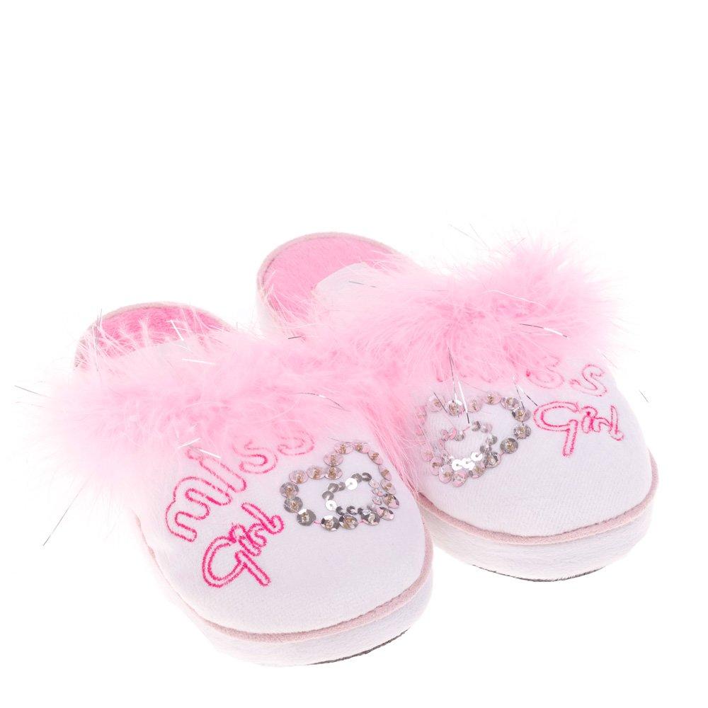 Papuci de casa pentru copii Loona albi