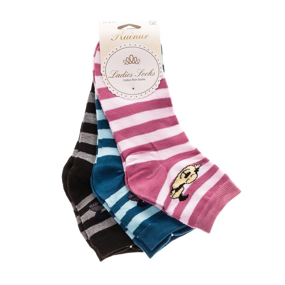 Set 3 perechi sosete dama F1512 roz, albastre si negre
