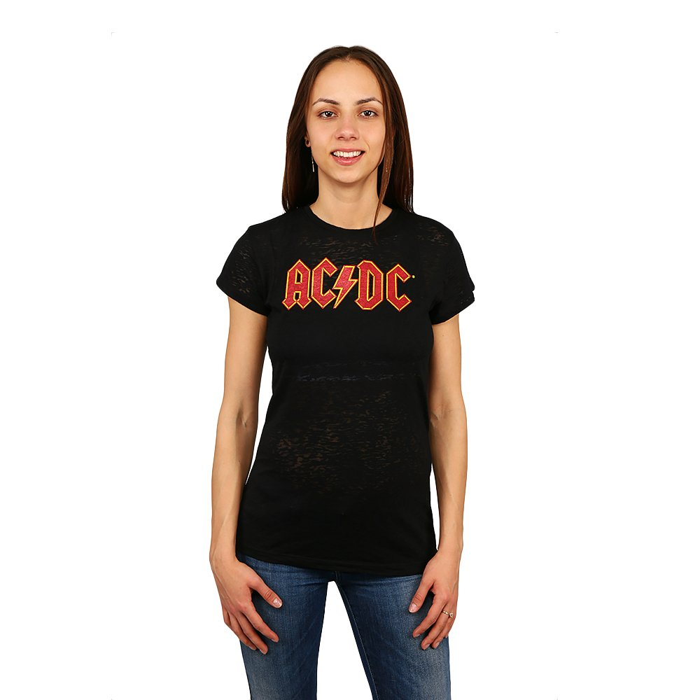 Tricou dama AC/DC negru cu imprimeu rosu