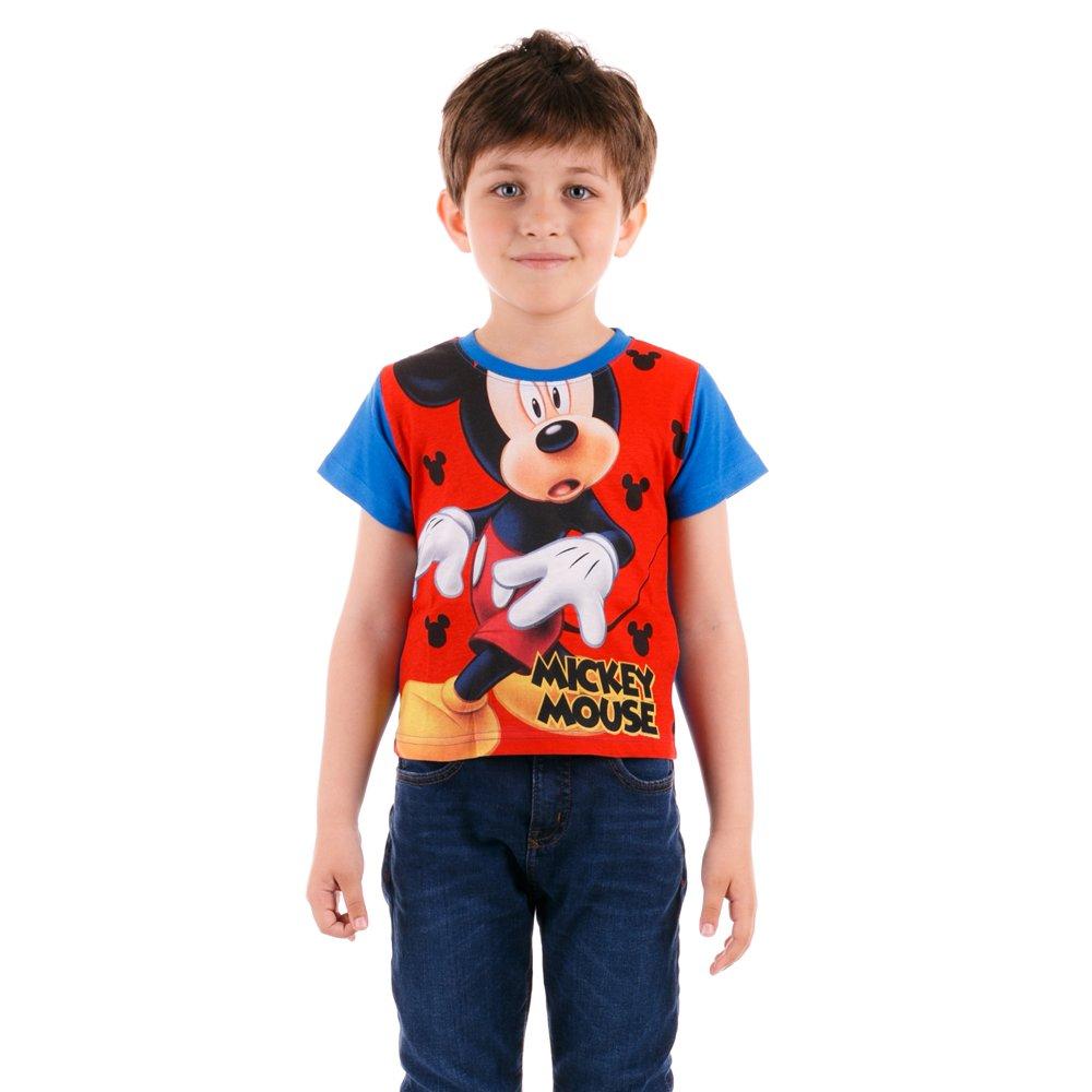 Tricou maneca scurta baieti Mickey Mouse albastru cu rosu