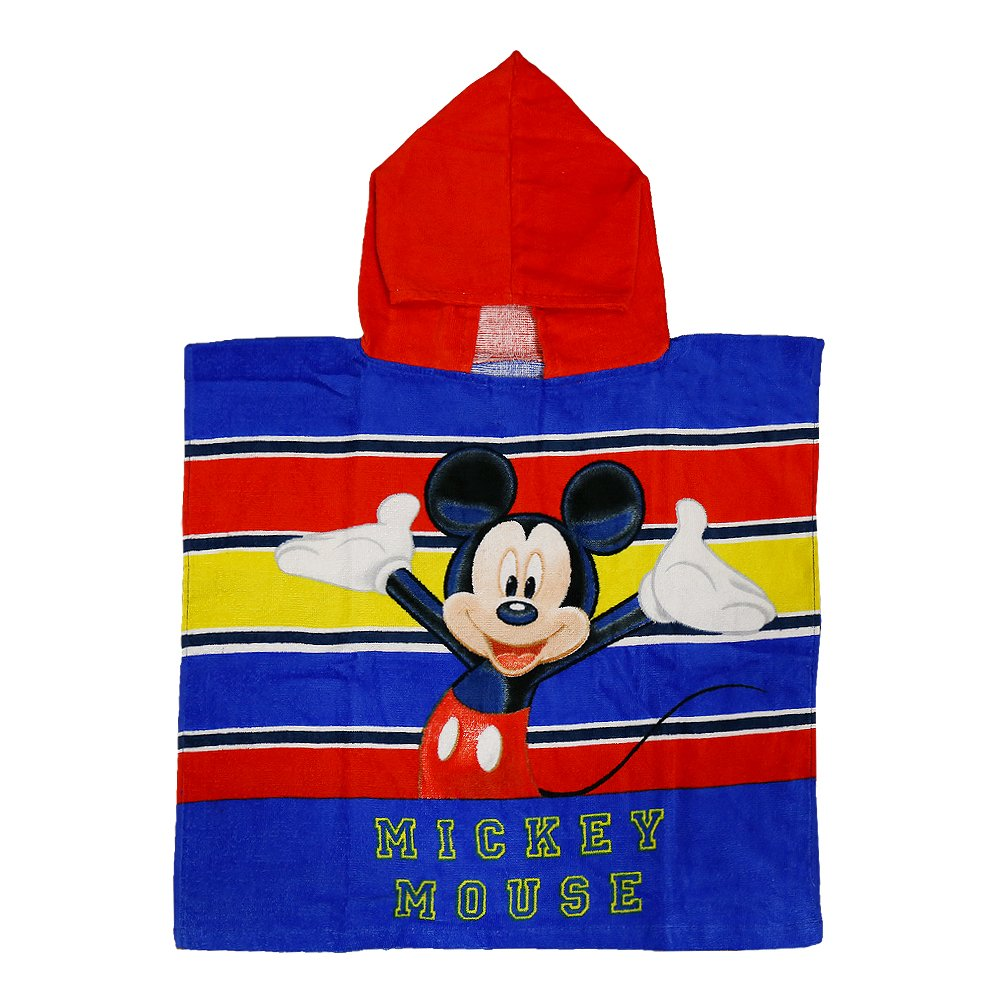 Poncho plaja Mickey Mouse The One  Only rosu cu albastru