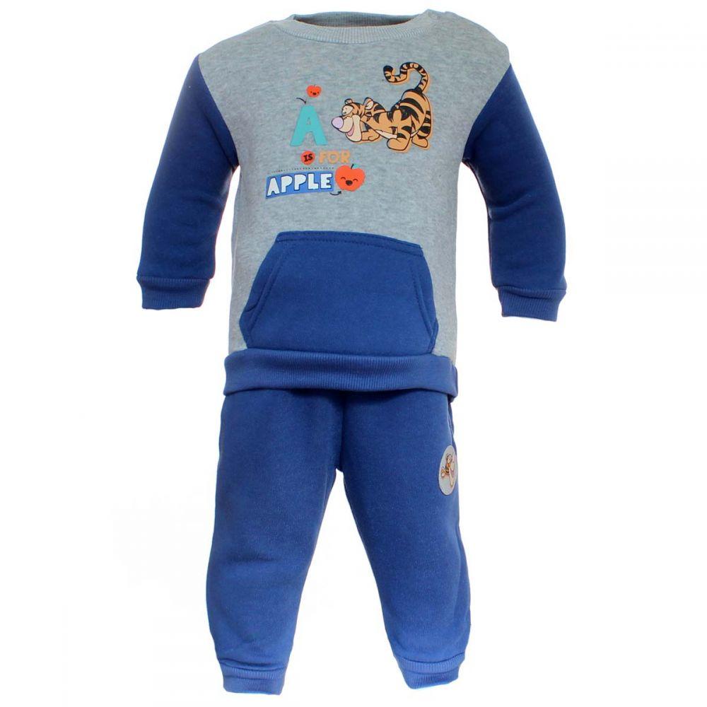 Compleu bebe Tigger A is for Apple bleu cu gri