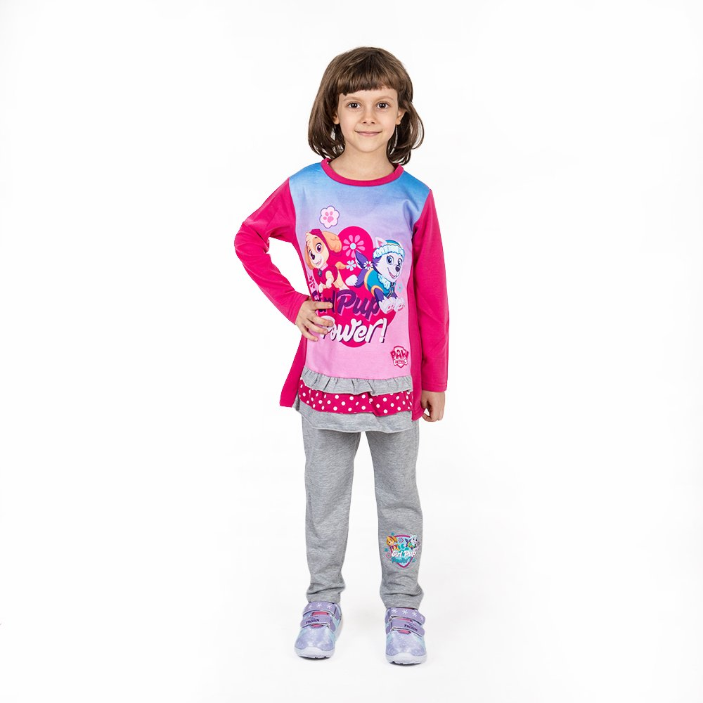Compleu fete Paw Patrol Girl Pup Power roz cu pantaloni gri