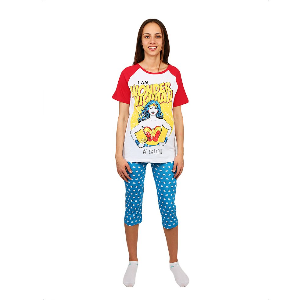 Pijama dama Wonder Woman tricou alb si pantaloni albastri