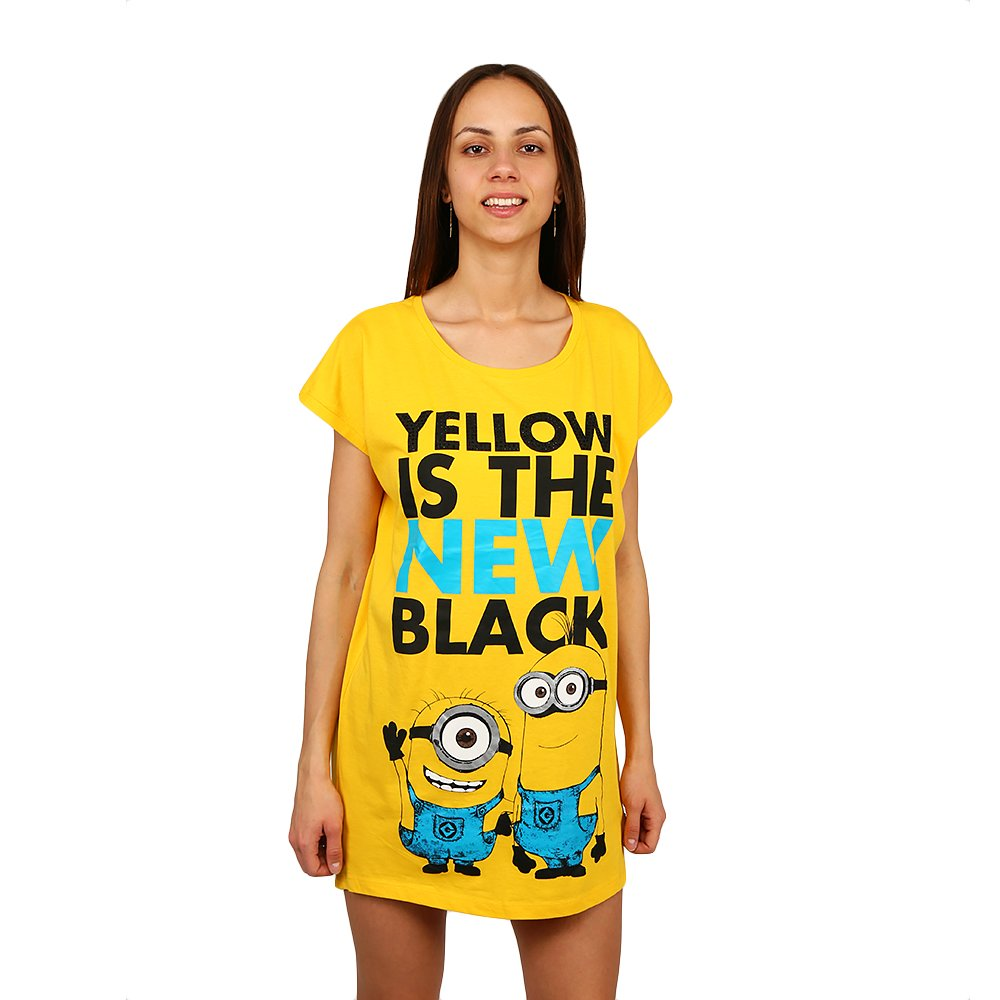 Tricou camasa noapte Minions Yellow Is The New Black
