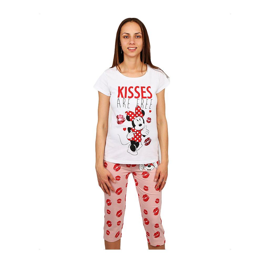 Pijama dama Minnie Mouse Kisses are Free alba cu roz