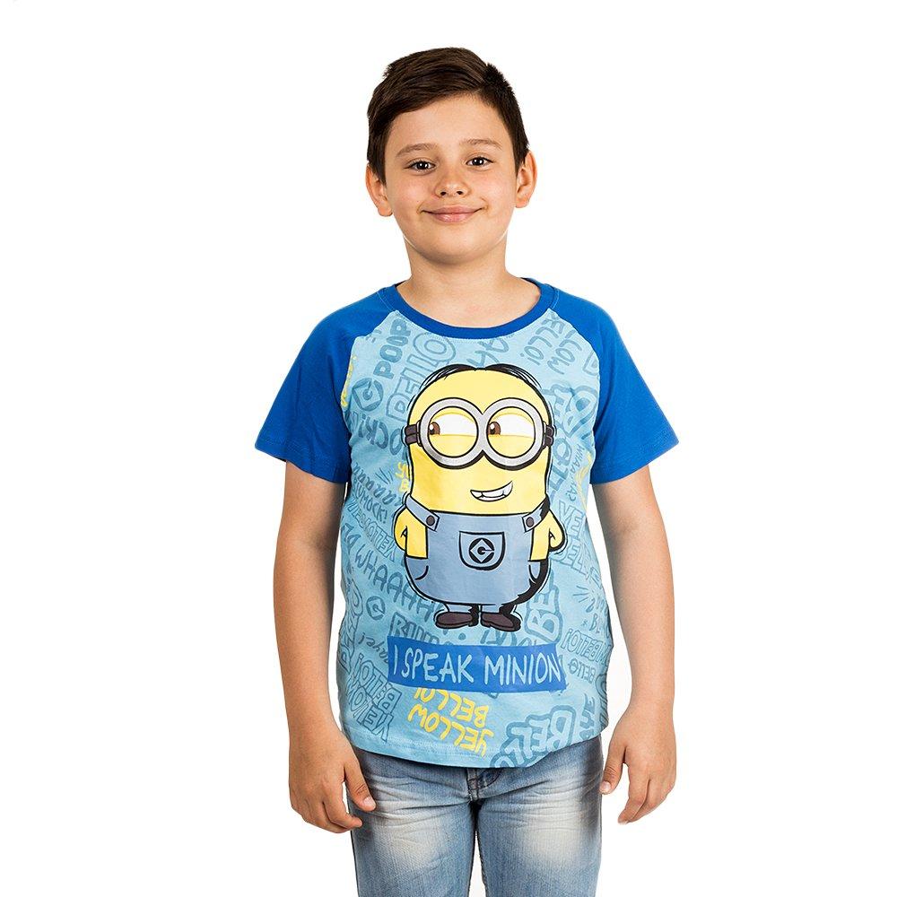 Tricou baieti Minions I Speak Minion bleu cu maneci albastre