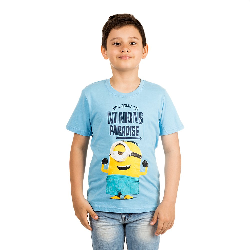 Tricou baieti Minions Paradise bleu