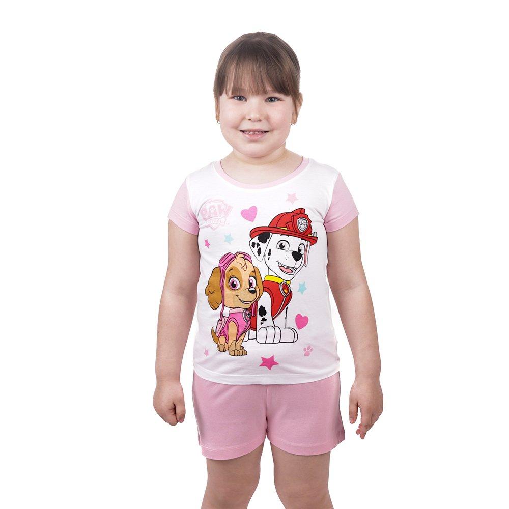 Pijama fete Paw Patrol Best Friends alba cu pantaloni roz pal