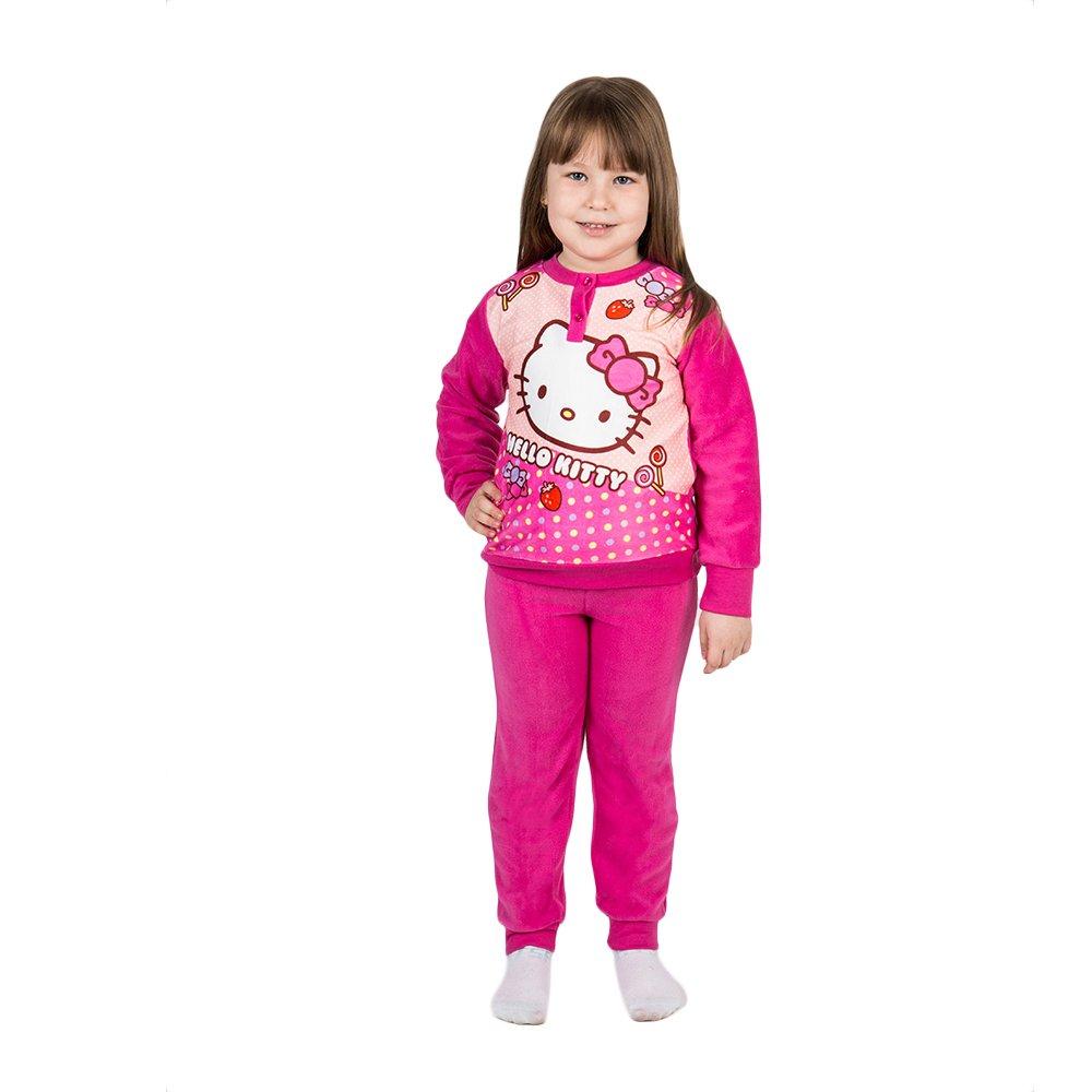 Pijama maneca lunga fete Hello Kitty fucsia
