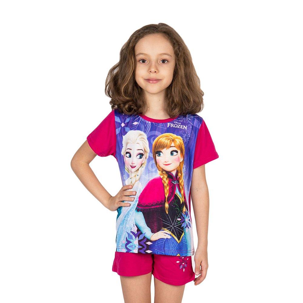 Pijama fete Frozen Elsa & Anna fucsia