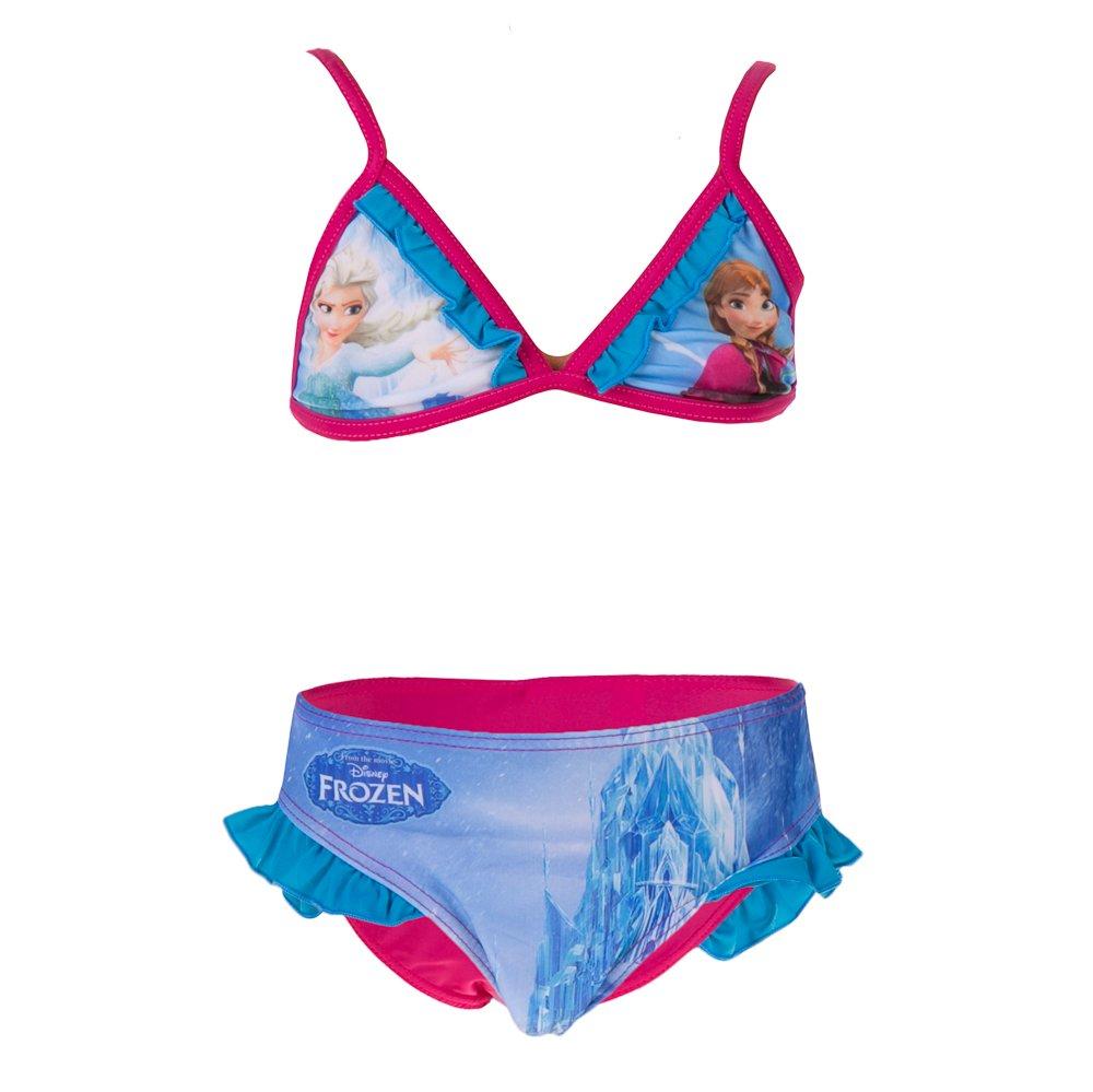 Costum de baie fete Frozen Elsa si Anna fucsia
