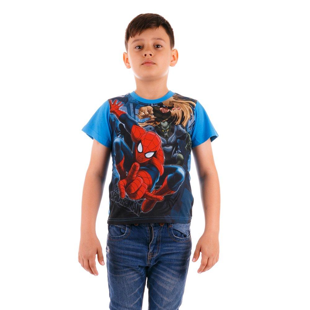 Tricou maneca scurta baieti Ultimate Spider-Man Chase albastru