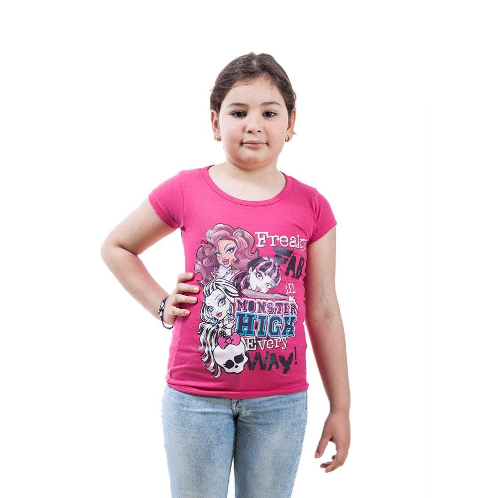 Tricou maneca scurta fete Monster High Freaky roz