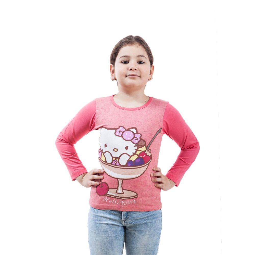 Tricou maneca lunga fete Hello Kitty roz