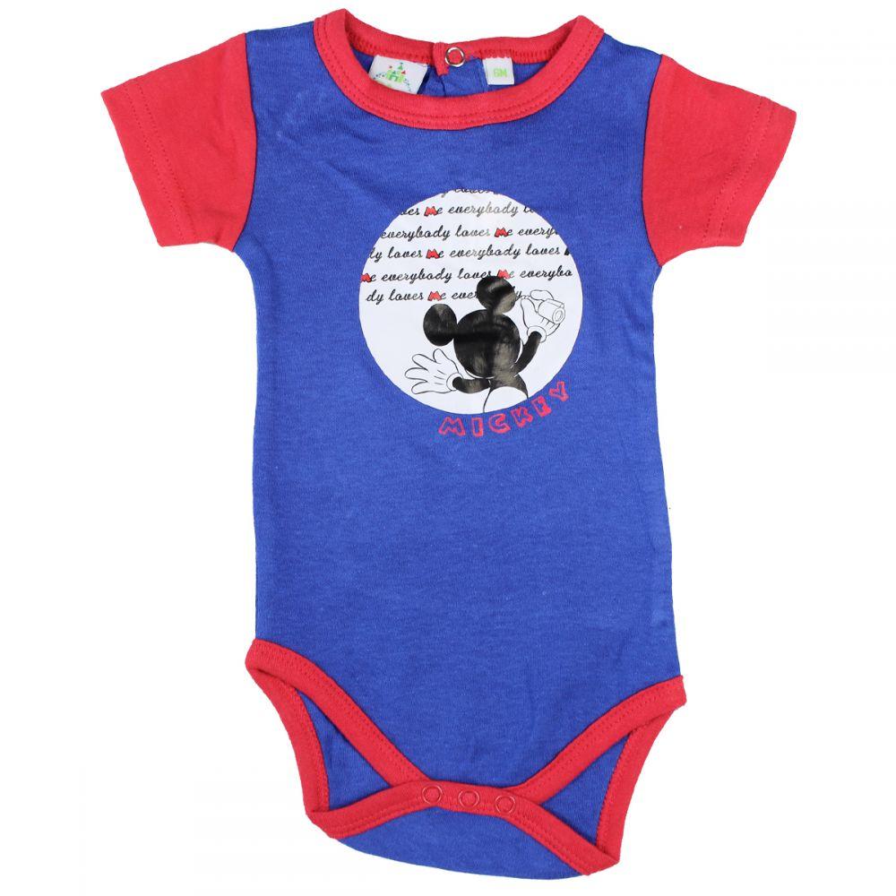 Body bebe Mickey Mouse albastru cu rosu