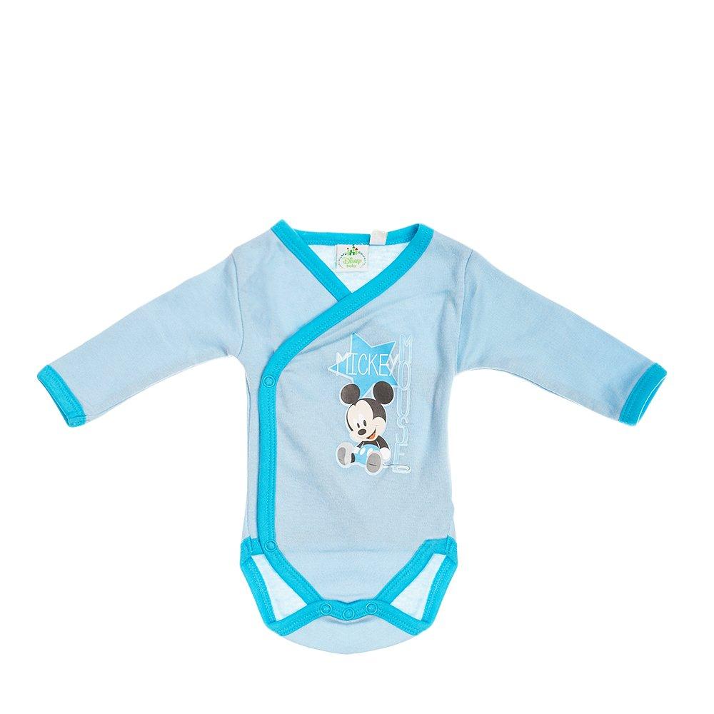 Body bebe Mickey Mouse bleu cu insertii turcoaz