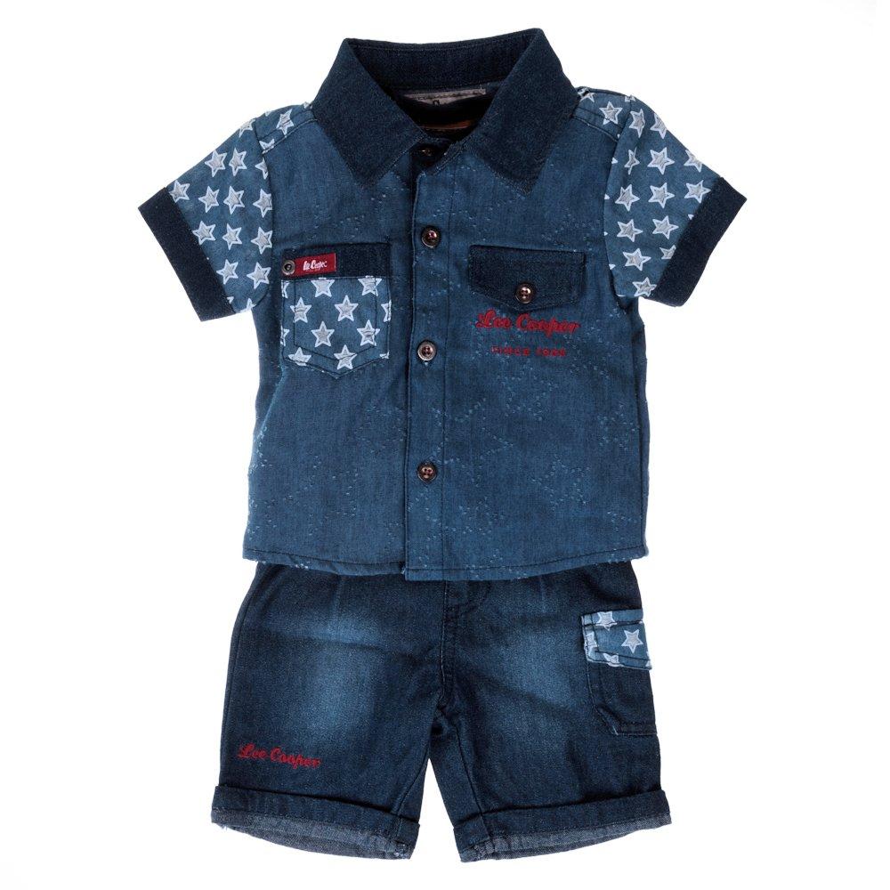 Lee Cooper ? Compleu bebe Stars blue jeans cu tricou rosu