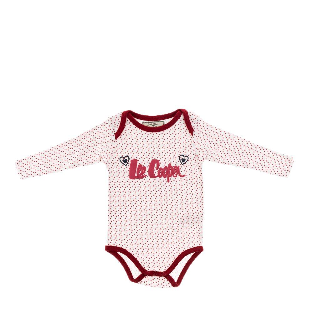 Lee Cooper - Body bebe Hearts alb cu buline rosii