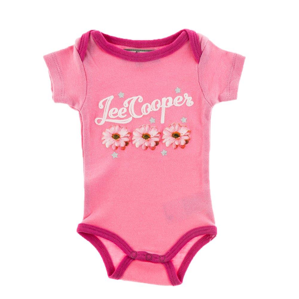 Lee Cooper ? Body bebe Three Flowers roz cu margini fucsia