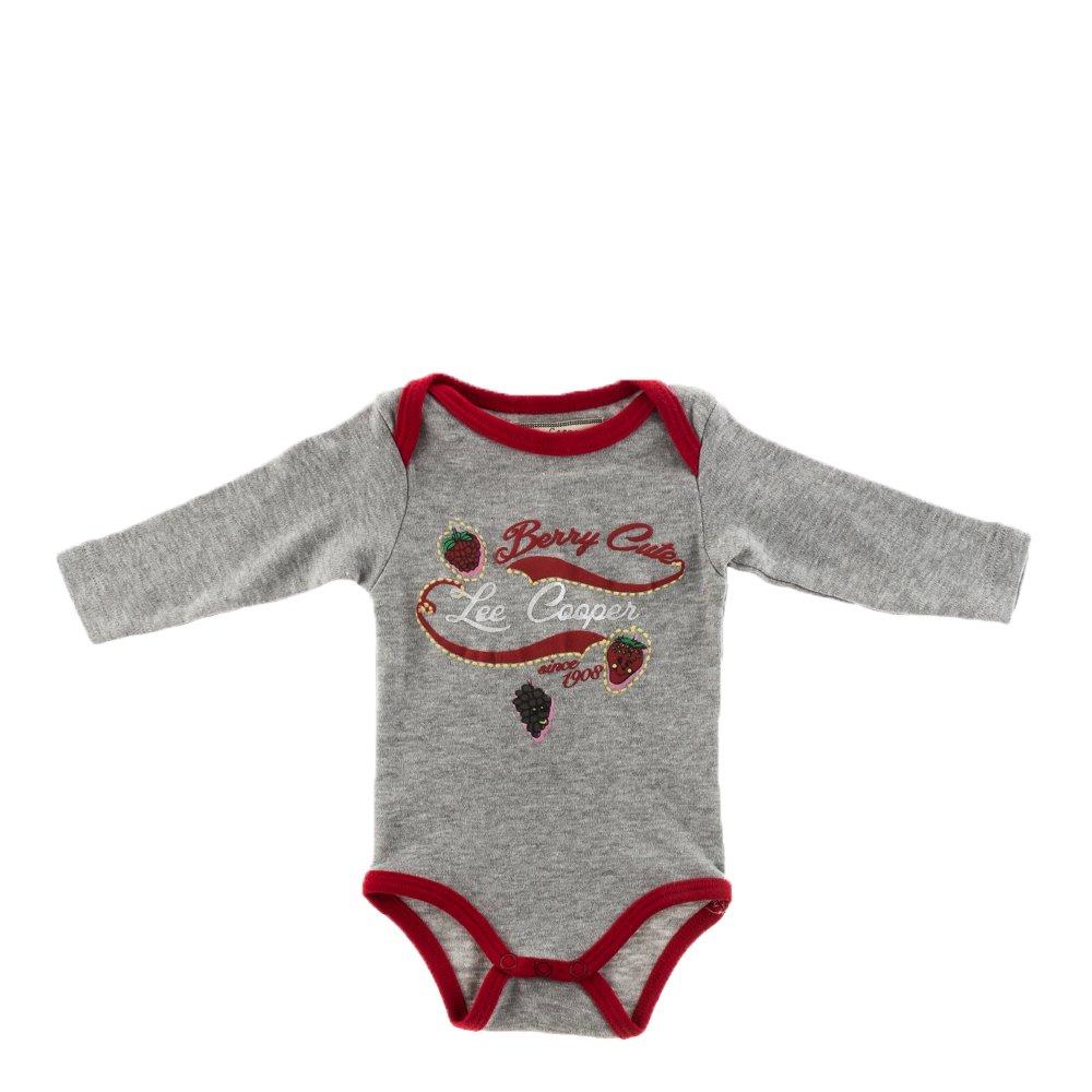 Lee Cooper - Body bebe Berry Cute gri cu margini rosii