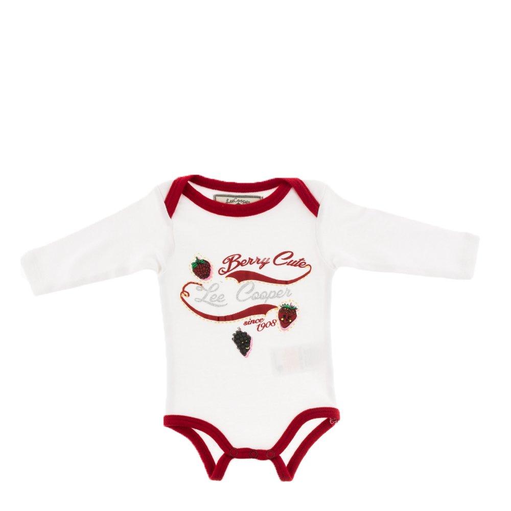 Lee Cooper - Body bebe Berry Cute alb cu margini rosii