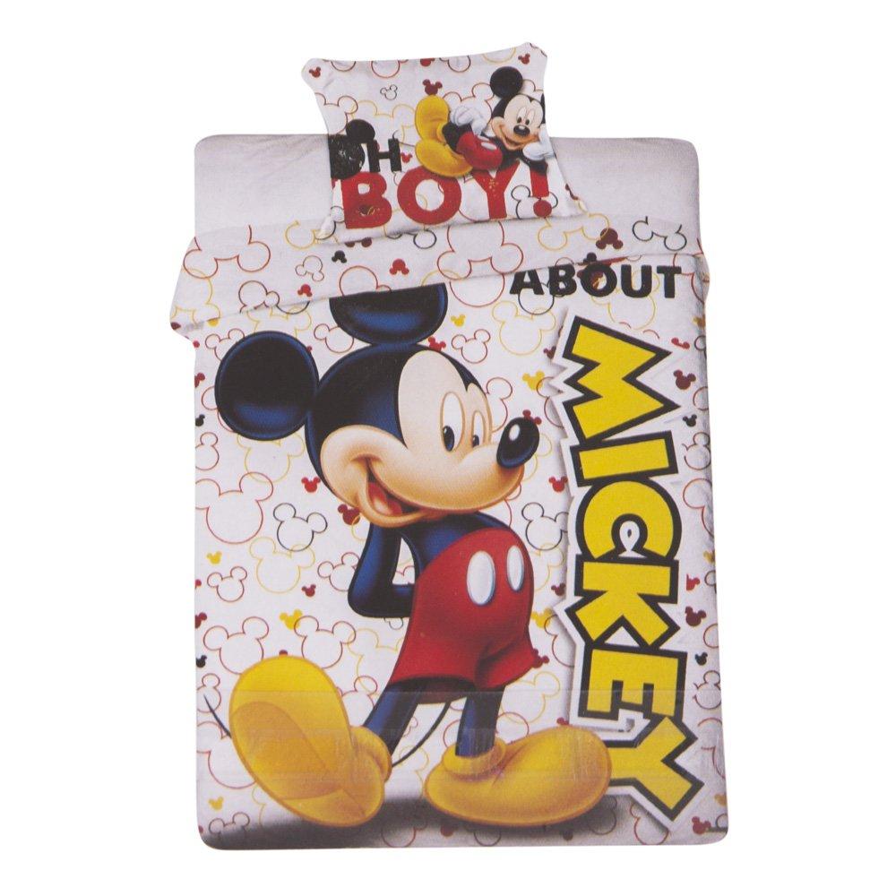 Lenjerie de pat si fata perna Mickey Mouse alba