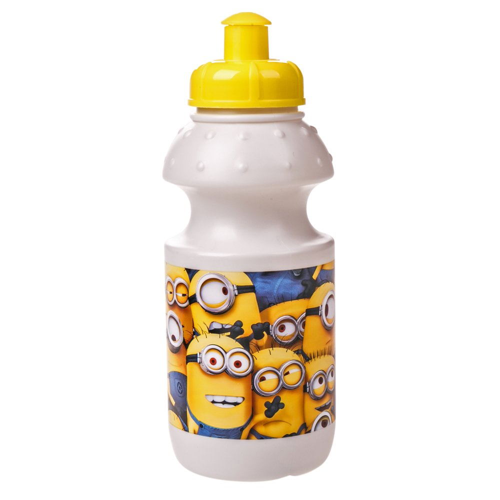 Bidon apa Minions alb cu dop galben