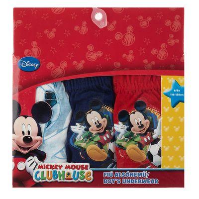 Set 3 perechi chiloti baieti Mickey Mouse rosii, albi si albastri