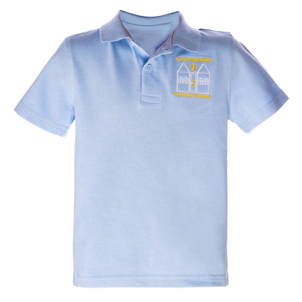 Tricou copii polo cu maneca scurta School bleu