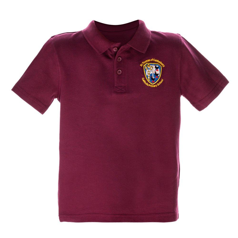 Tricou Copii Polo Cu Maneca Scurta School Visiniu