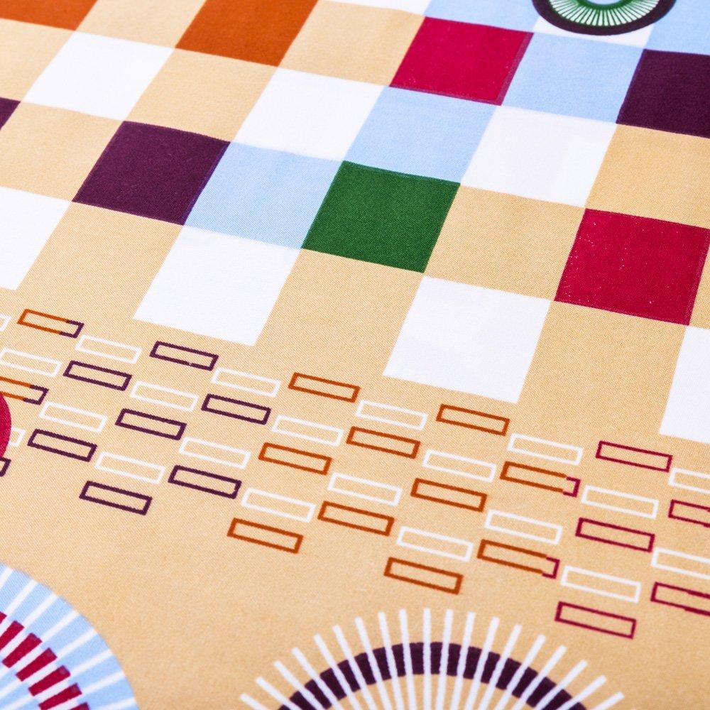 Lenjerie de pat Ralex imprimeu cu cercuri si patratele camel